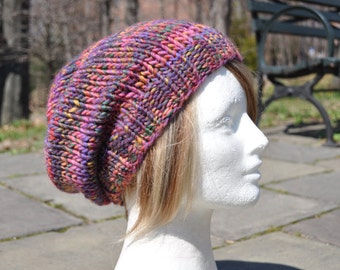 Multi-colored Pink Knit Hat - Wool Ribbed Knit Slouch Hat - Women's Hat - Slouchy Knit Hat
