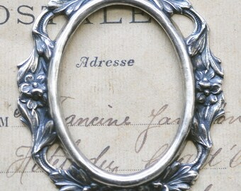 Open Cameo Setting, 40 X 30mm with gaps, Sterling Silver Finish, Settings Made in the USA, Brass Stampings