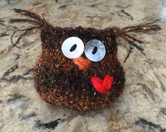 Copper the Owl Hand-knit......Friends and nest not included!