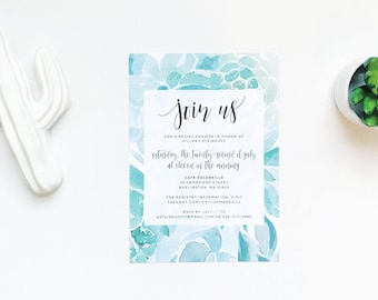 Watercolor Succulents Shower Invites / Aqua Succulents / Calligraphy / Semi-Custom Party Bridal Shower Invites / Printed Invitations