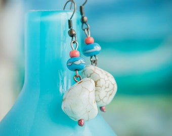 Ivory turquoise earrings_drop shaped teardrop_artisan lampwork glass_organic earrings_coral blue_Strega boho tribal_Mediterranean jewelry
