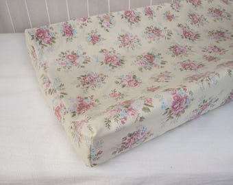 Shabby Chic, Victorian, Floral  Fitted Crib Cot Sheet / Changing Pad Cover - Pink Roses Cream