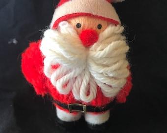 Vintage Handmade Yarn Santa Ornament