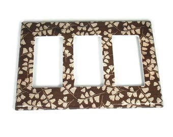 Triple Rocker Switch Plate Light Switch Cover Wall Decor Light Switchplate  in Brown Leaves  (267TR)