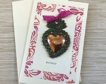 Mother Copper Heart Milagro Greeting Card