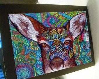 greeting card zentangle mule deer blank card