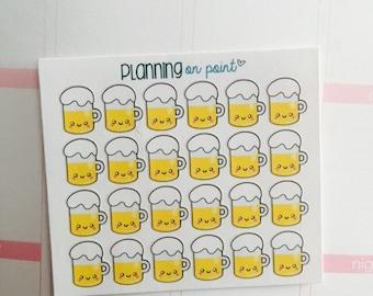 Kawaii Beer Mug Planner Stickers!
