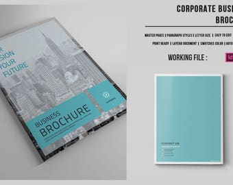 Business Brochure  Template | Corporate Brochure | InDesign and Photoshop Template, Instant Download