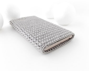 Grey Honor 10 phone cover, iPhone 8 plus cozy, crochet Galaxy S9 plus cover, vegan Moto G6 sock, Samsung Note 8 sleeve, hipster LG G7 case
