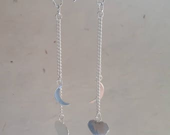 Sterling Silver Heart and Moon Earrings