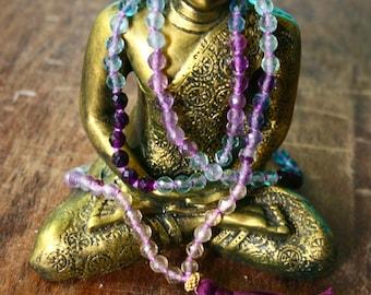 Rainbow Fluorite Japa Mala Beads Faceted Gemstone Mala Knotted 108 Mala Beads Healing Crystal Meditation Jewelry Spiritual Jewelry Yoga Japa