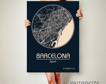 BARCELONA Spain CANVAS Map Barcelona Spain Poster City Map Barcelona Spain Art Print Barcelona Spain poster Barcelona Spain map art Spain