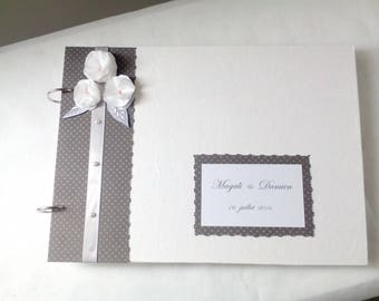 White and grey, romantic wedding guest book