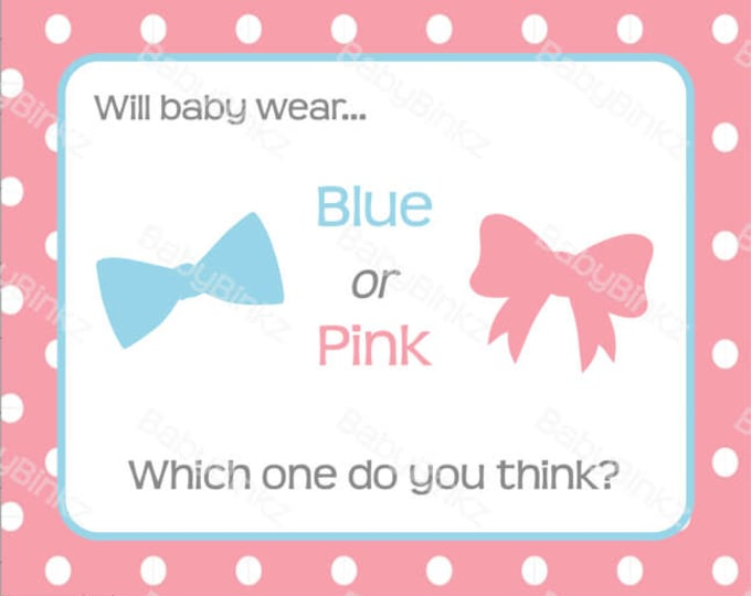 Gender Reveal Pin Sign -  Gender Reveal Party Baby Shower Die Cut Pink Girl Bows & Blue Boy Bow Tie Vote Game Little Man or Miss