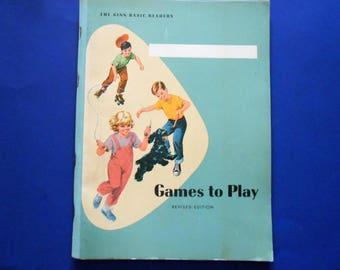 Games to Play, 1961 Ginn Basic Readers Workbook, Unused
