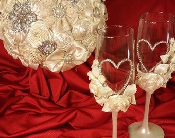 Wedding Brooch Bridal Bouquet Set,boutonniere, Champagne Glasses,corsages,