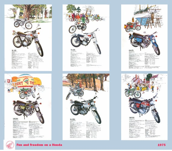 Classic Honda Motorcycle Poster Middleweight Bikes Reproduced