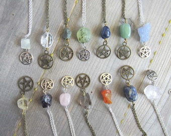 Wiccan pentacle amulet - choose a crystal - witchcraft jewelry wiccan amulet pagan wicca pentagram mystical witchy occult