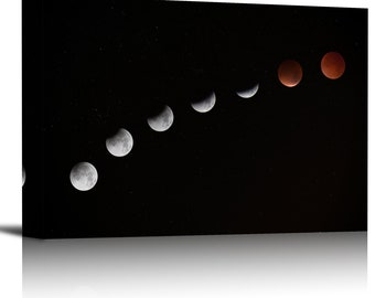 Lunar Eclipse Art Print Wall Decor Image - Canvas Stretched Framed