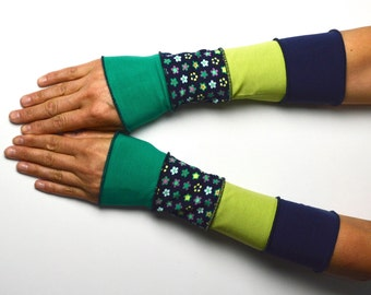 Mittens Summer Arm Warmers Wrist Warmers blue green patchwork flower