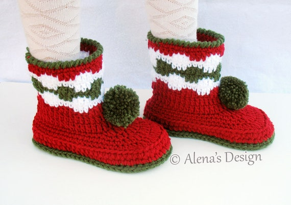 Crochet Pattern 066 - Children's Pom-Pom Boots Kid's Youth Sizes Crochet Red Booties Girls Boys Boot Pattern Slippers Winter Christmas Gift