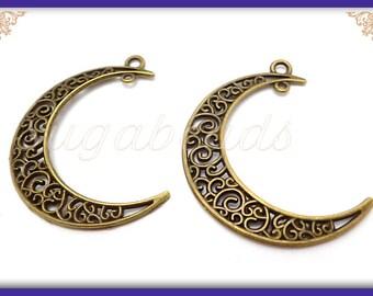 4 Filigree Moon Pendants, Antiqued Brass Moon Pendants, Crescent Moons 42mm, PB30