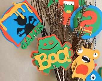 Monster Centerpiece Stick Set, Monster Centerpieces, Monster Party Centerpieces, Monster Party, Monster Birthday, Monster Decorations, Boo