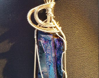 Flame Aura Quartz pendant necklace in 14 K gold filled & sterling silver wire.