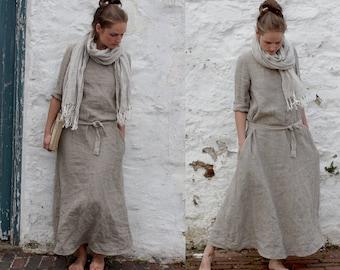 MONK linen dress | trapeze silhouette | custom length