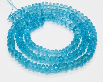 """5mm-5.7mm Neon Blue Apatite Faceted Rondelle Beads 18.2"""" Strand"""