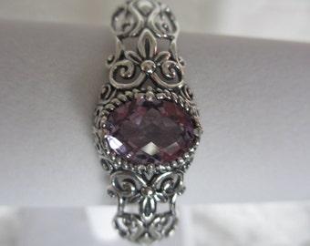 Sterling Silver Amethyst  Scroll Heart Cuff Bracelet