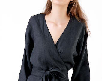 Linen Blouse, Charcoal Linen Wrap Top, Kimono Linen Top, Linen Tops for Woman, Linen Wrap, Linen Kimono blouse, Wrap Linen Clothing