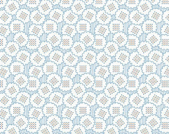 Andover Fabrics Downton Abbey Downstairs Collection A 7600 B -  Blue and Cream Reproduction Fabric - 100% Cotton