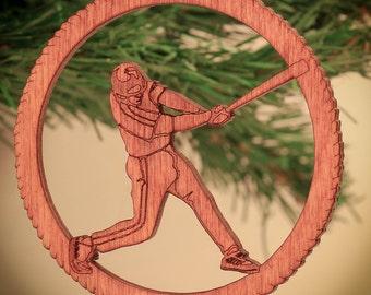 Baseball Christmas ornament; I love baseball; Laser Cut Ornament