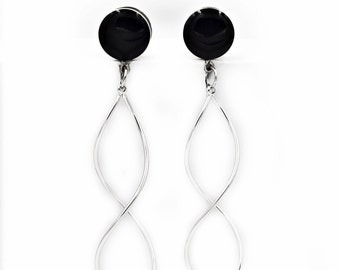 Black Infinity Twist Dangle Plugs / 8g, 6g, 4g, 2g, 0g, 00g, 7/16, 1/2, 9/16, 5/8 / wedding gauges / cute plugs / Gold, Rose Gold or Silver
