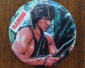 Original 1985 Rambo First Blood Part II Pinback Button - Official
