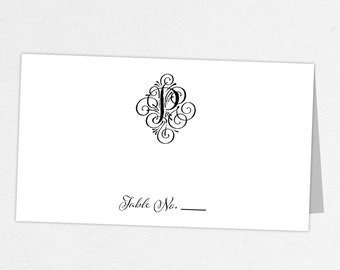 Monogram Escort Card, Monogram Place Card, Printed Escort Card, Printed Place Card, Wedding Escort Card, Wedding Place Card, Jacqueline