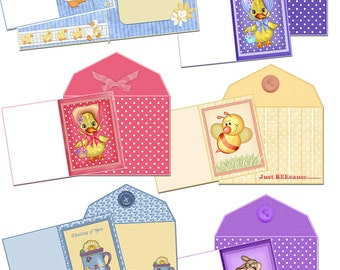 Digital Printable Note Cards and Envelopes Set of 6
