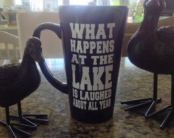DIY What Happens at the Lake Personalized Coffee Mug Decal