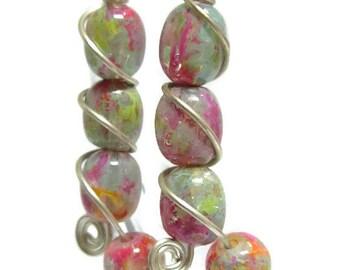 SUGAR CREME ICING Rainbow Unicorn Sprinkle Dangle Earrings Fashion Glass Bead Jewelry Handmade
