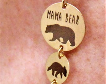 Mama And Baby Bear Necklace & Pendants In Yellow Gold Filled Add a Baby Bear for each