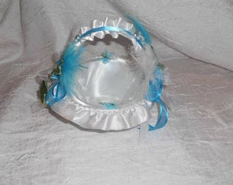 White and turquoise color procession basket