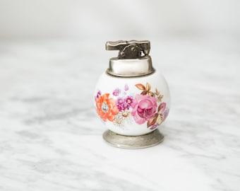 Vintage Collectible Lighter - Round White Ceramic and Metal Floral Vintage Flint Lighter - Mid Century Modern Decor - Flowers Decor