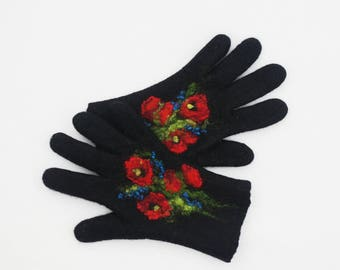 Gloves, black gloves, poppies,  felted wool gloves, gift for her, fall spring winter accessories, women gloves