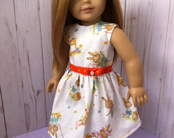 American Girl Doll Dress: Playful Bunnies, 18 inch Doll Clothes