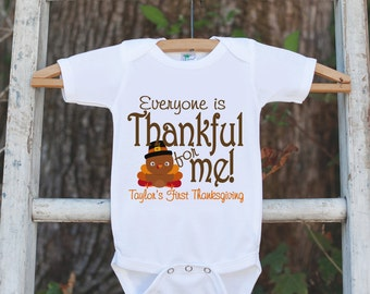 First Thanksgiving Outfit - Turkey Thankful For Me Thanksgiving Shirt or Onepiece - Thanksgiving for Boy or Girl - 1st Thanksgiving Turkey