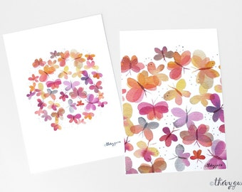 Flower butterfly watercolor postcard, Colorful pink orange butterfly card, Butterfly painting, Butterfly illustration, Colorful stationery