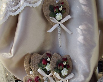 Burgundy Roses And Burlap Boutonniere Set 6