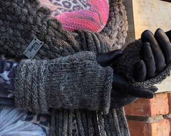 Fingerless Gloves, Matching Hand Warmers, Welted Cuff