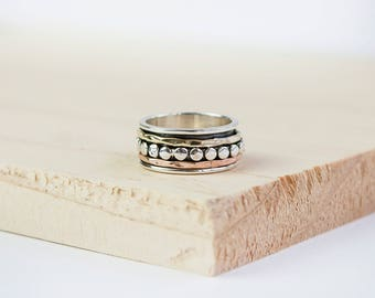Sienna Spinner Ring, Worry Ring, Anxiety Ring, Fidget Ring, Meditation Ring, Personalised Ring, Meditation Jewelry, Sterling Silver, Spinner